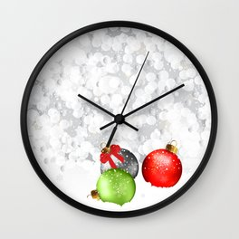 Christmas Baubles In Snow Wall Clock