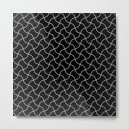 Black and White Spaghetti Pattern Metal Print