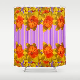 Orange-Yellow Daffodils Lilac Vision Shower Curtain