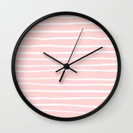 White lines on blush Wall Clock