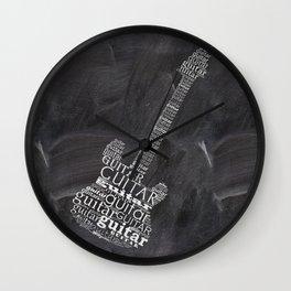 Guitar on chalkboard Wall Clock