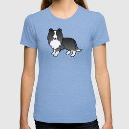 Bi-Black Shetland Sheepdog Dog Cartoon Illustration T-shirt