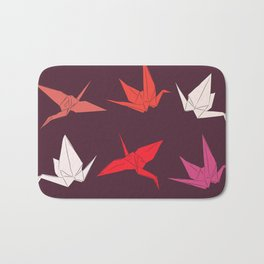 Japanese Origami paper cranes sketch, symbol of happiness, luck and longevity Bath Mat