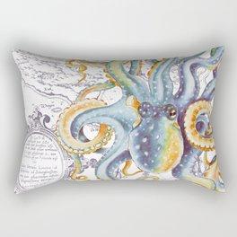 Octopus Steel Blue Vintage Map Rectangular Pillow