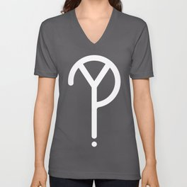 White Y? Symbol  Unisex V-Neck