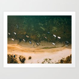 Aerial view of a Lagoon with boats Art Print