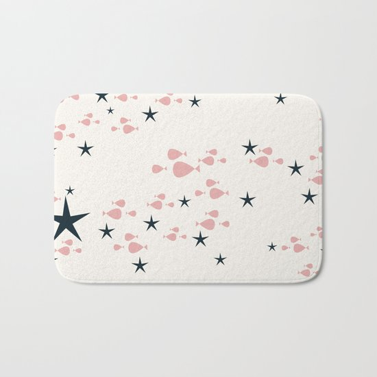 fish and stars pink Bath Mat