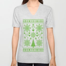 Christmas Cross Stitch Embroidery Sampler Green And White Unisex V-Neck