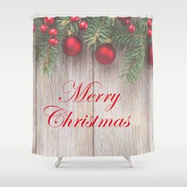Merry Christmas Garland, Berries & Ornaments on Weathered Wood Shower Curtain