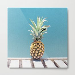 Pineapple on blue Metal Print
