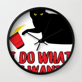 I Do What I want Cat graphic Wall Clock