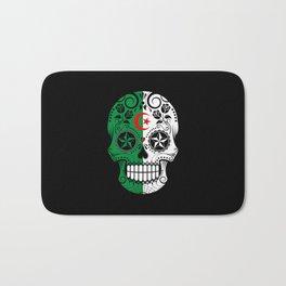 Sugar Skull with Roses and Flag of Algeria Bath Mat