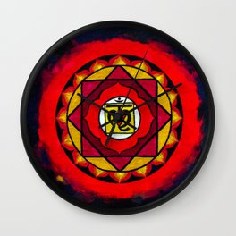 Indian Style Ohm Mandala of Vibrant Color Wall Clock