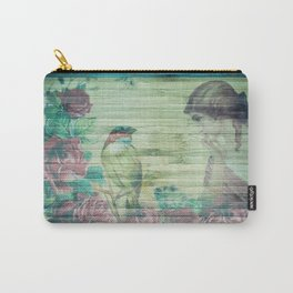 Vintage Exquisite Shabby Chic Lady and Bird Floral Carry-All Pouch