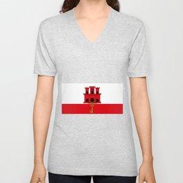 Flag Of Gibraltar Unisex V-Neck
