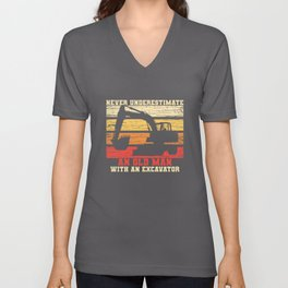 Old Man With An Excavator Unisex V-Neck