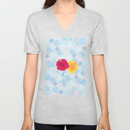 Hibiscus and Thunderhead reflected on the bubble_YR Unisex V-Neck