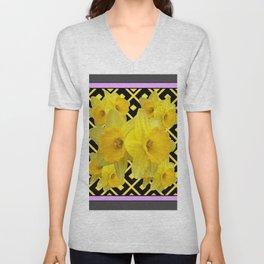 Charcoal Grey Lilac Yellow Daffodils art Unisex V-Neck