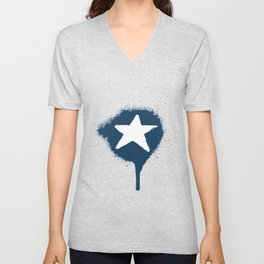 Lazy Stars (Aegean Blue/Warm White) Unisex V-Neck