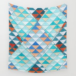 Triangle Pattern No.10 Shifting Turquoise and Orange Wall Tapestry