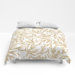 Gold Coral Ferns Comforters
