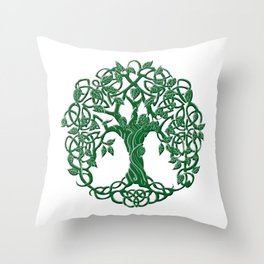 Tree of life green Throw Pillow