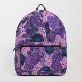 Blooming Cacti, Pink, Black and Violet Backpack