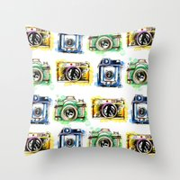 cameras Throw Pillows featuring Vintage Cameras by Abby Diamond