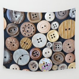 Wooden Buttons Wall Tapestry