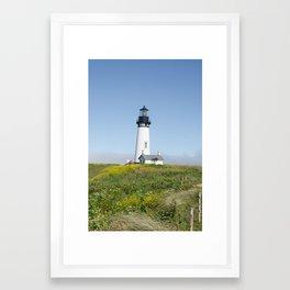 Yaquina Beach Light House Framed Art Print
