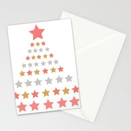 Lights christmas tree coral Stationery Cards