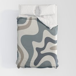 Liquid Swirl Abstract Pattern in Neutral Blue Gray on Nearly White Duvet Cover
