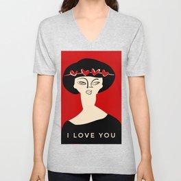 "Valentine's girl- with caption ""I love you"" Unisex V-Neck"