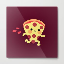 Cute running pizza slice Metal Print