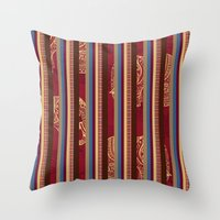 lindsay lohan Throw Pillows featuring Lindsay Stripe by DesignsByMarly