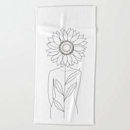Minimalistic Line Art of Woman with Sunflower Beach Towel