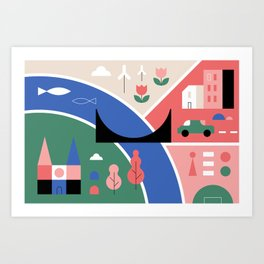 City Map Fragment II Art Print