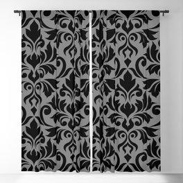Flourish Damask Art I Black on Gray Blackout Curtain