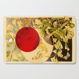 Japanese Ginkgo Hand Fan Vintage Illustration Cutting Board