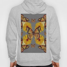 GREY ART BUTTERFLIES & YELLOW SUNFLOWERS NATURE Hoody