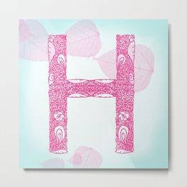 Floral Letter 'H' Metal Print