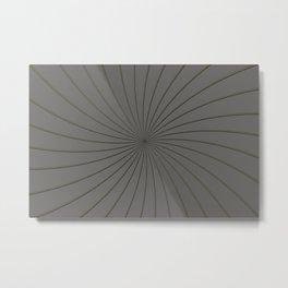 3D Pantone Pewter and Gold Thin Striped Circle Pinwheel Metal Print