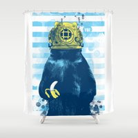 diver Shower Curtains featuring Wild Diver by Steven Toang