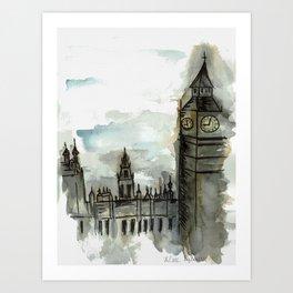 Big Ben on a Cloudy Day Art Print