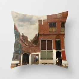 """Johannes Vermeer """"View on Houses in Delft (also known as 'The Little Street')"""" Throw Pillow"""