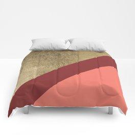 Modern gold foil burgundy peach color block geometric stripes pattern Comforters