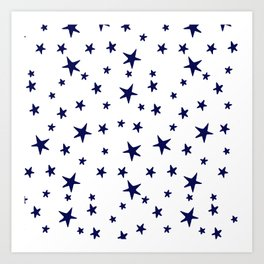 Stars - Navy Blue on White Art Print