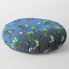 Young enchantress creating a fireball Blue Pattern Floor Pillow