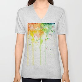 Watercolor Rainbow Splatters Abstract Texture Unisex V-Neck