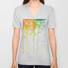 Watercolor Rainbow Splatters Abstract Texture Unisex V-Neck